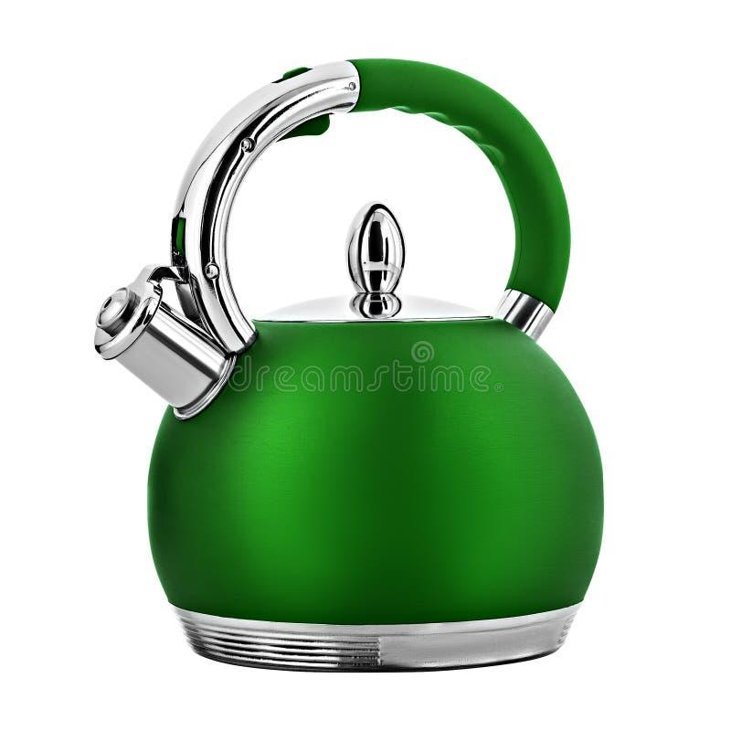 Green metal teapot stock photography