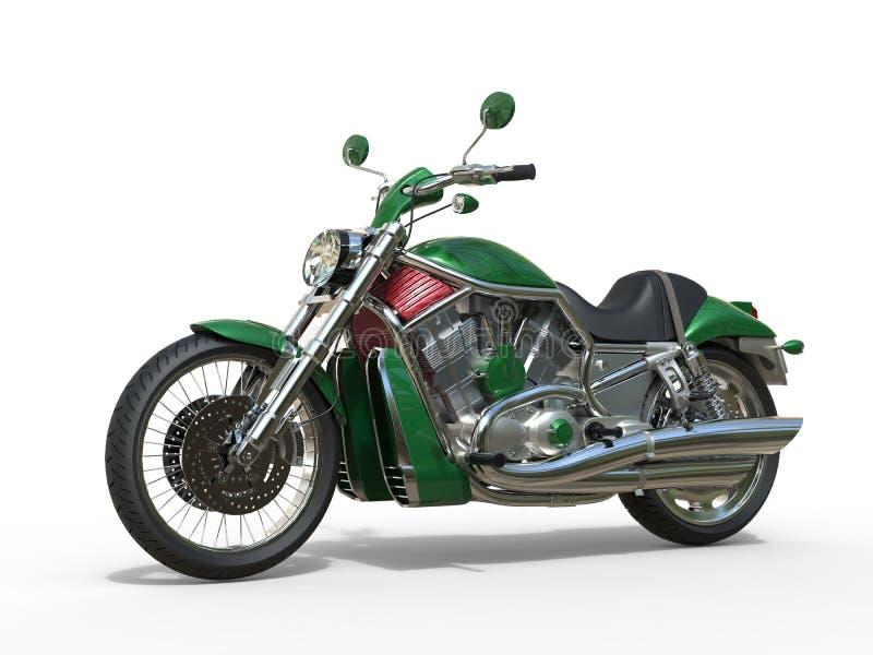 Green Metallic Roadster Bike. On white background royalty free stock images