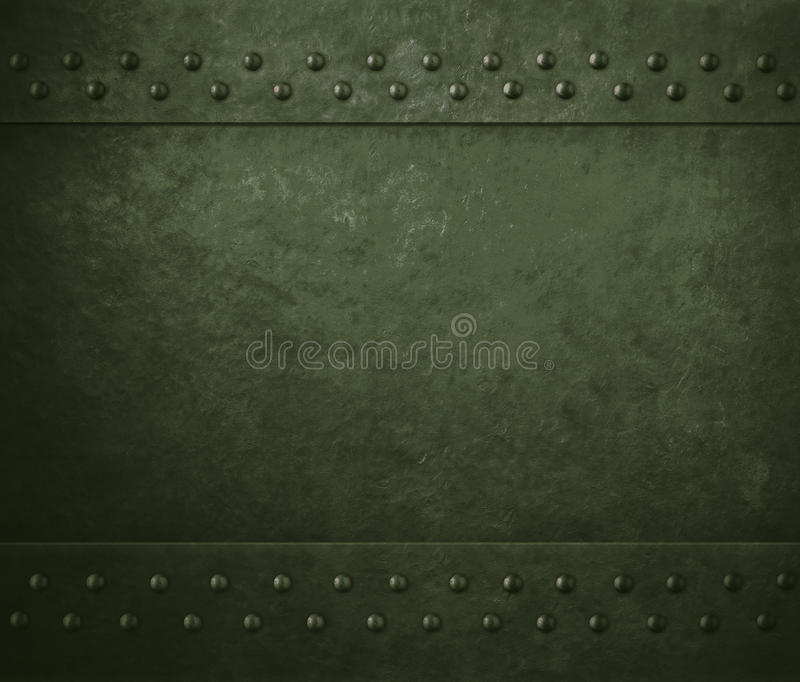 Green military metal armor background. Green metal armor background with rivets stock photos