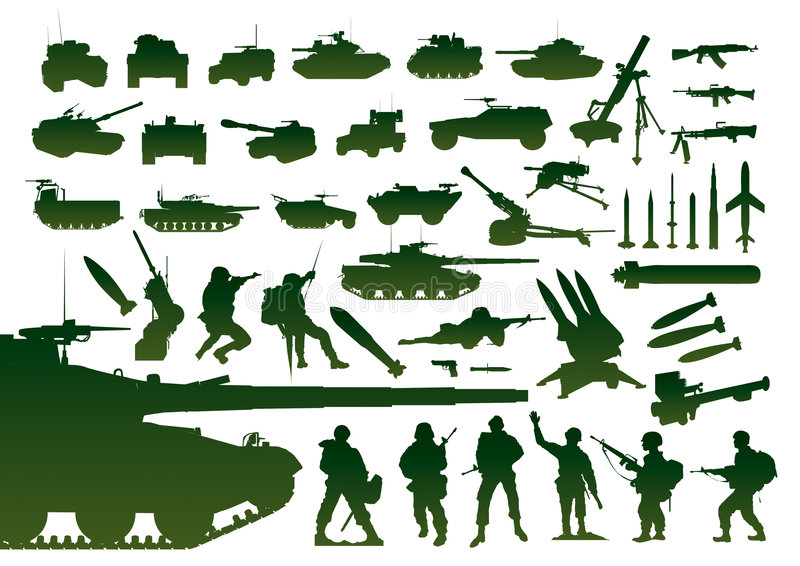 Green military silhouettes royalty free illustration