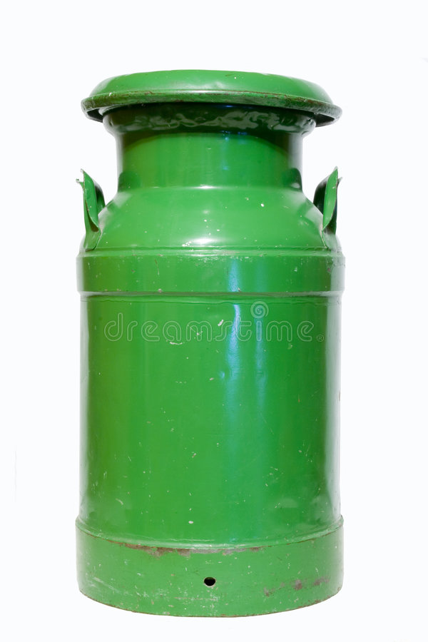Green milk can stock image