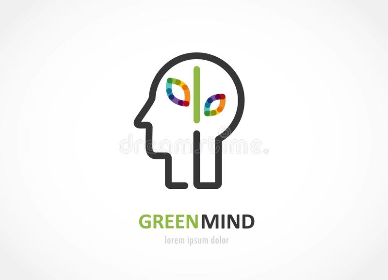 Green mind- abstract colorful icon of human head, brain symbol. Green mind- abstract colorful icon of human head, mind, brain symbol. vector illustration vector illustration