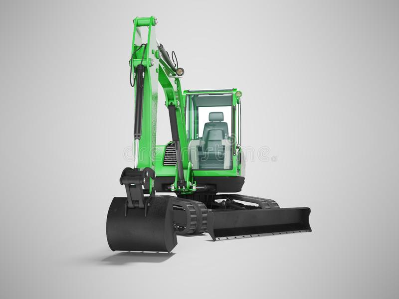 Green mini tracked excavator with turned cab to the left 3d render on gray background with shadow. Green mini tracked excavator with turned cab to the left 3d royalty free illustration