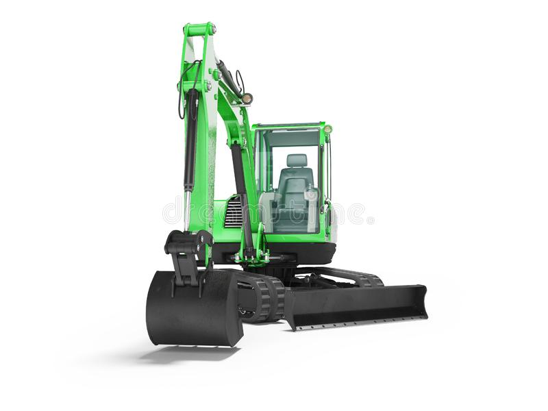 Green mini tracked excavator with turned cab to the left 3d render on white background with shadow. Green mini tracked excavator with turned cab to the left 3d vector illustration