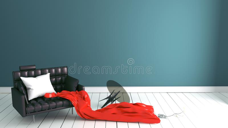 Green mint wall on wood floor with working table. 3D rendering. Mock up green mint wall on wood floor with working table. 3D rendering stock illustration