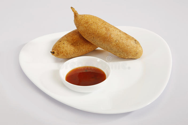 Green Mirchi Pakora or Green Chilli Cutlet with Sauce royalty free stock photos
