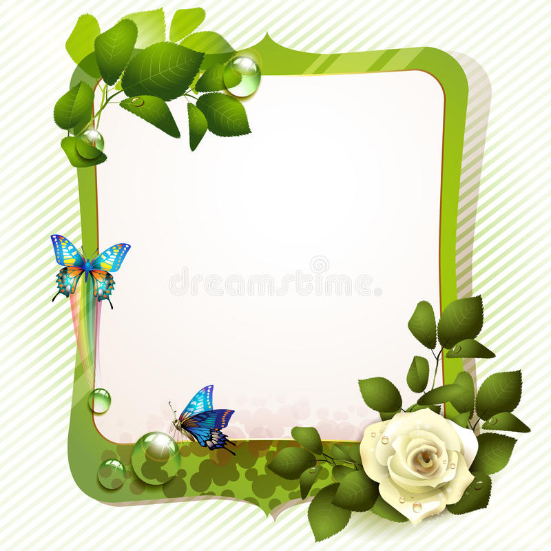 Download Green mirror with rose stock vector. Image of romantic - 23844759