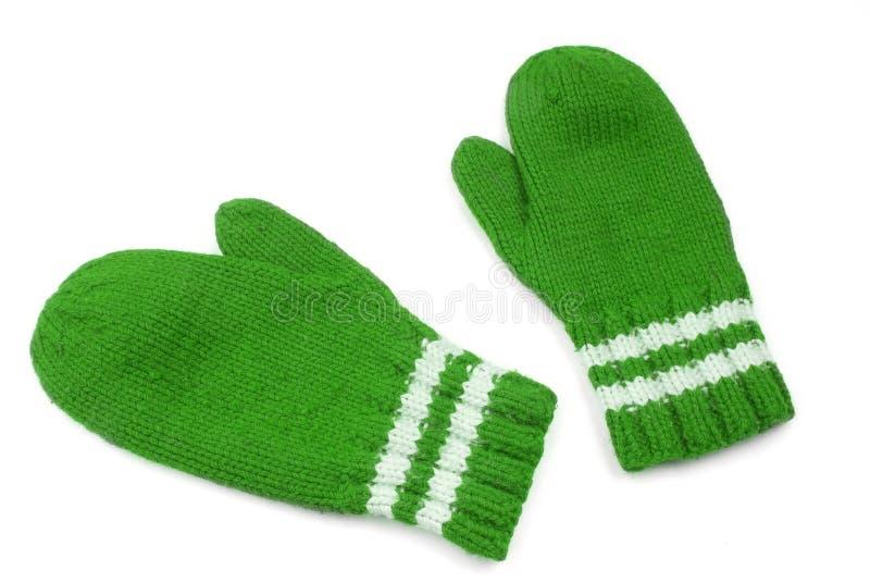 Green mittens stock photos