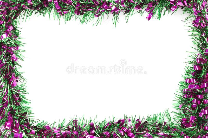 Green mix violet color tassel of Christmas on white background royalty free stock photography