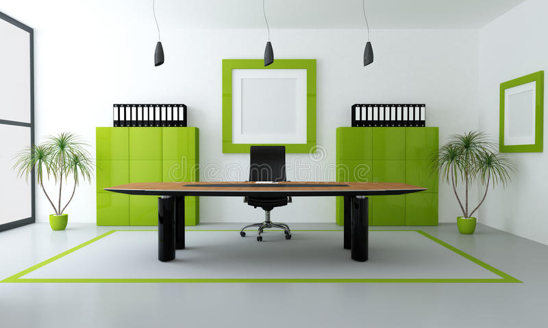 Green modern office. Minimalist green and black office space - rendering vector illustration