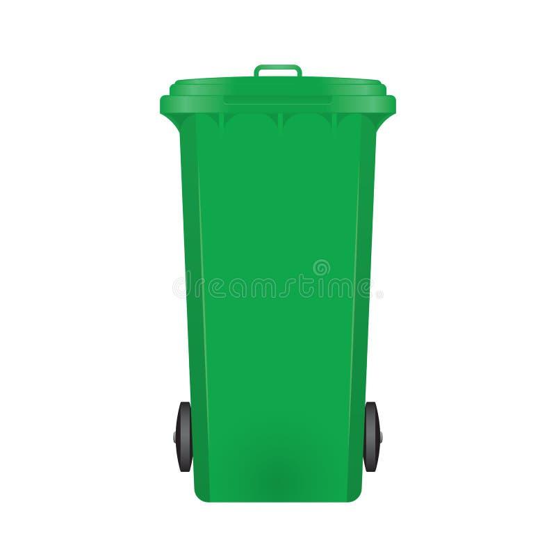 Green modern recycle bin. On white background stock illustration