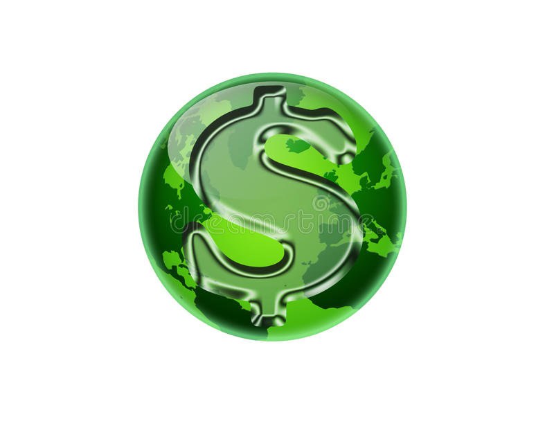 Green Money. An isolated green globe with a dollar symbol overlay vector illustration