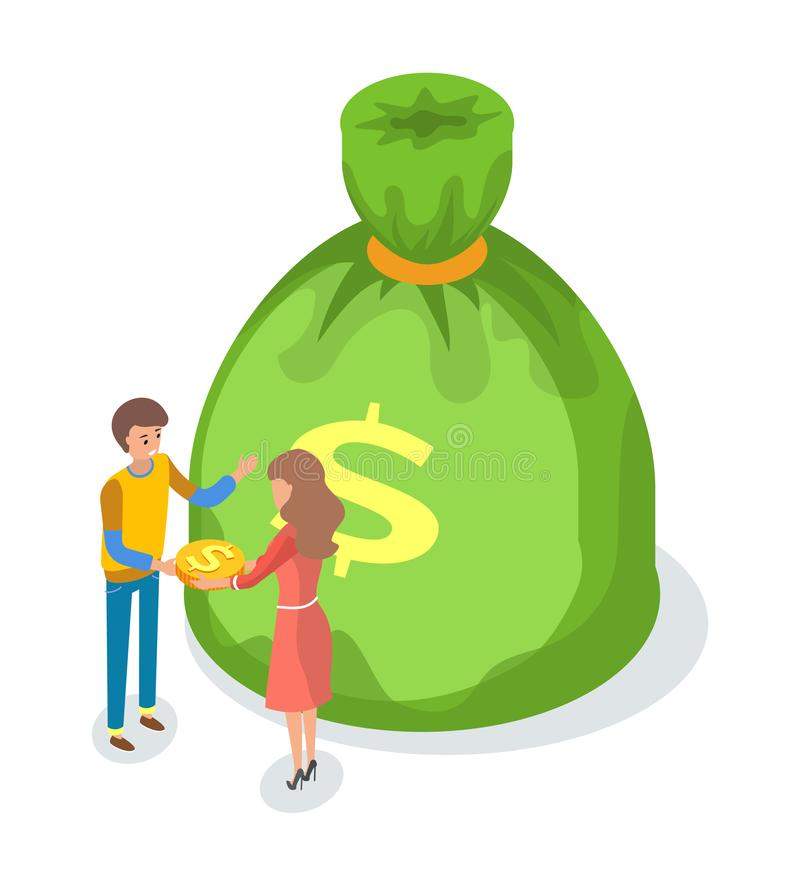 Bag With Money Sign Cartoon: Green Bag Money Dollar Sign Stock Illustrations