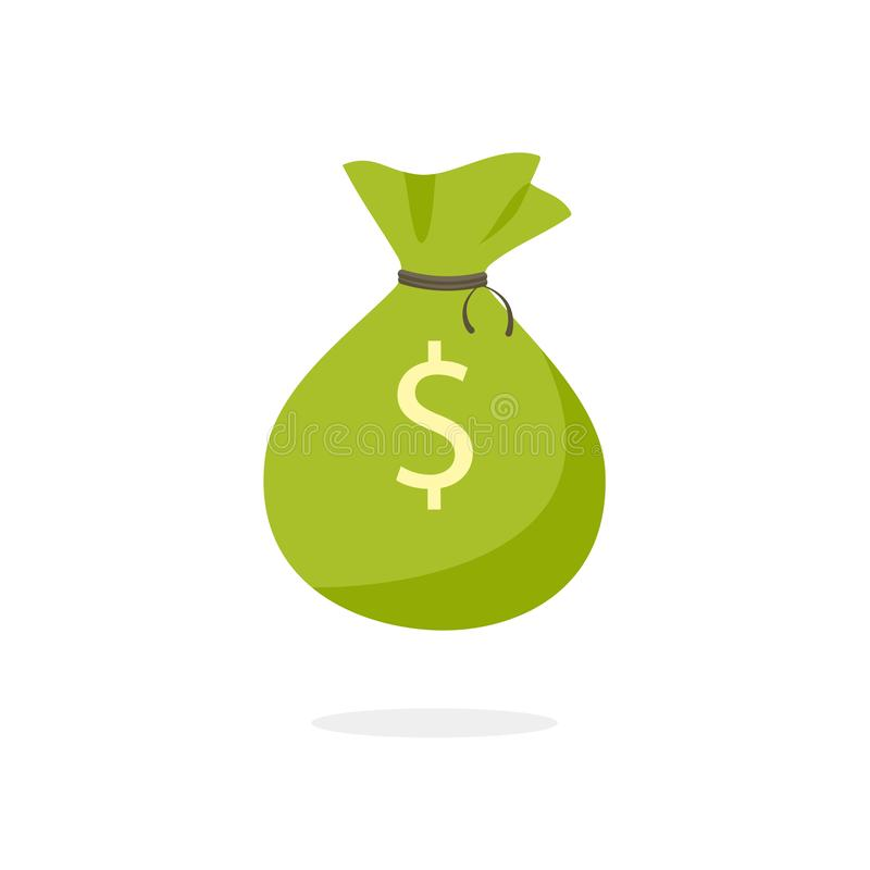 Green Money Bag icon stock illustration