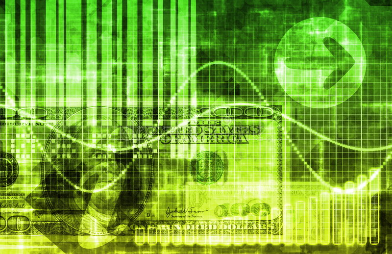 Green Money Technology Business Background stock illustration