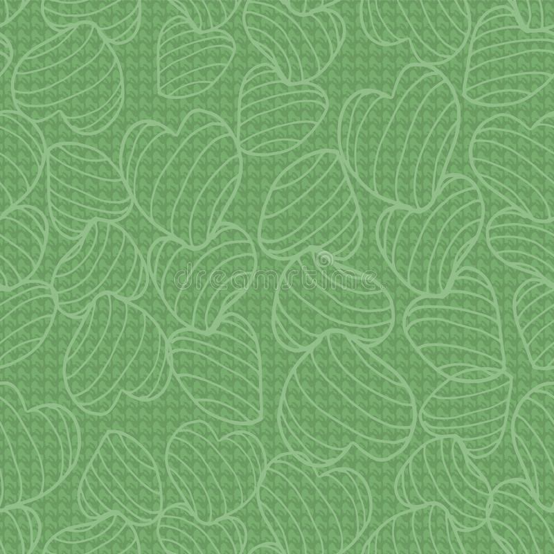 Green monochrome line art bouncy striped hearts packed together on a canvas-like textured background. Seamless vector pattern. Great for fabric, home decor vector illustration