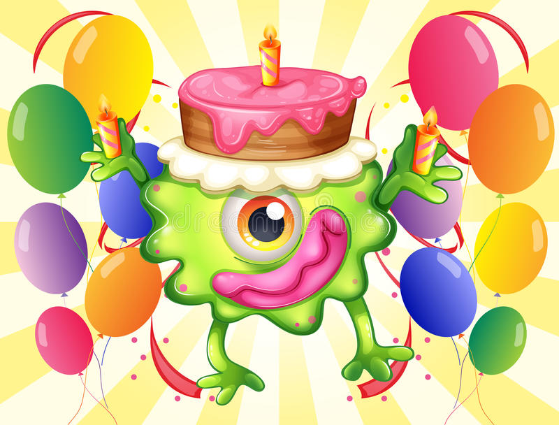 Download A Green Monster With A Cake Above The Head Stock Illustration - Image: 34462279