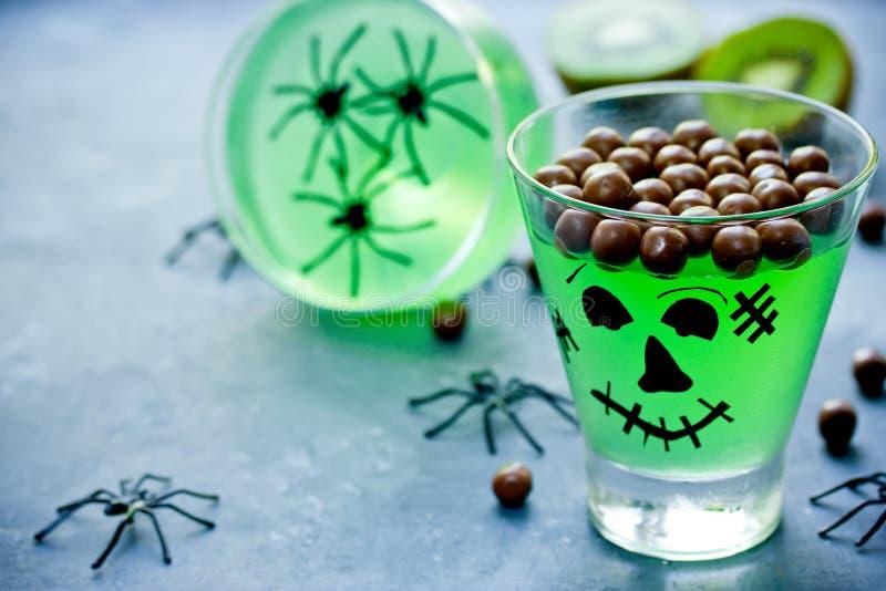 Green monster dessert for kids royalty free stock images