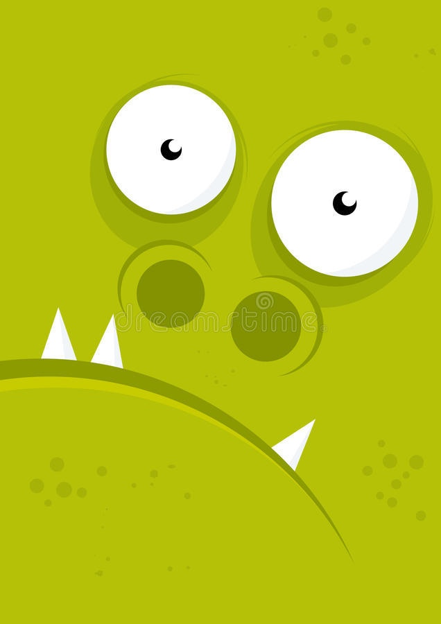 Green monster face royalty free illustration