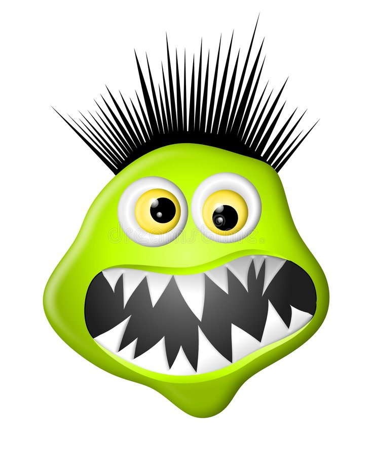 Green Monster Face. A silly illustration featuring a green cartoonish monster face