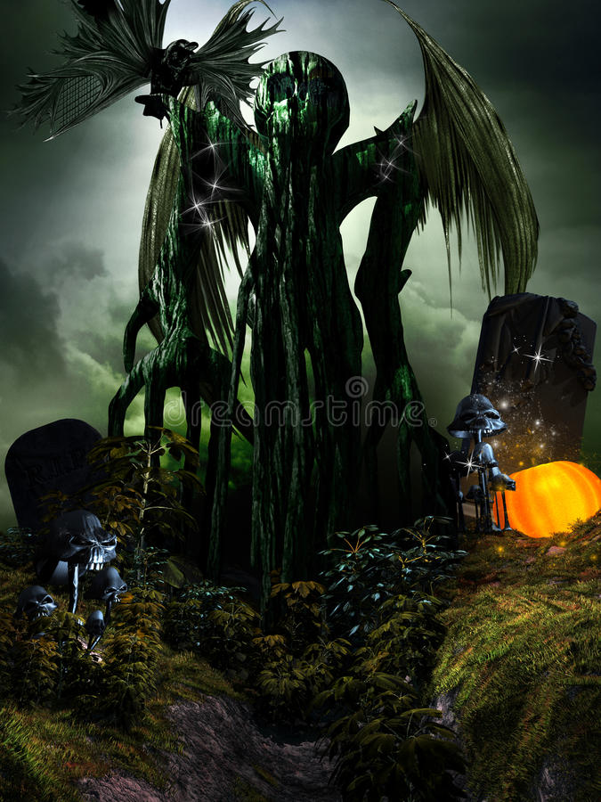 Green Monster. Halloween scene with winged monster, mushrooms and pumpkin royalty free illustration