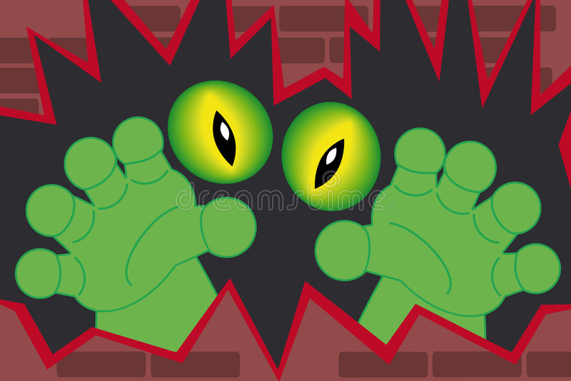 Download Green Monster Hands Coming Out Of A Wall Stock Vector - Image: 8774384
