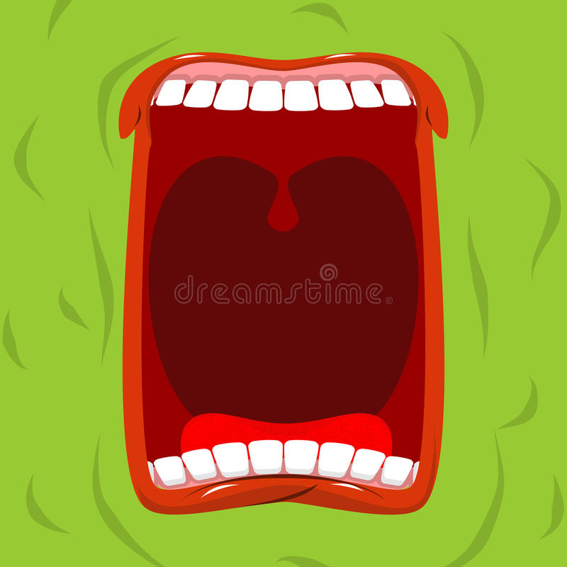 Green monster with his mouth open. Scary ghost shouts. Horrible royalty free illustration