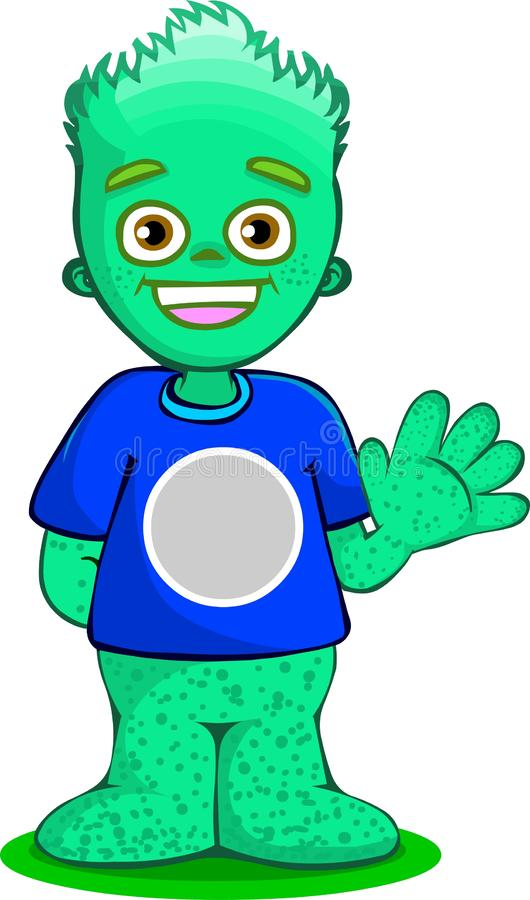 Green monster kid. Hand shaking creature cartoon green alien boy. Editable t shirt logo With freckles and flame hair. 2D vector, i. Green monster kid. Hand vector illustration
