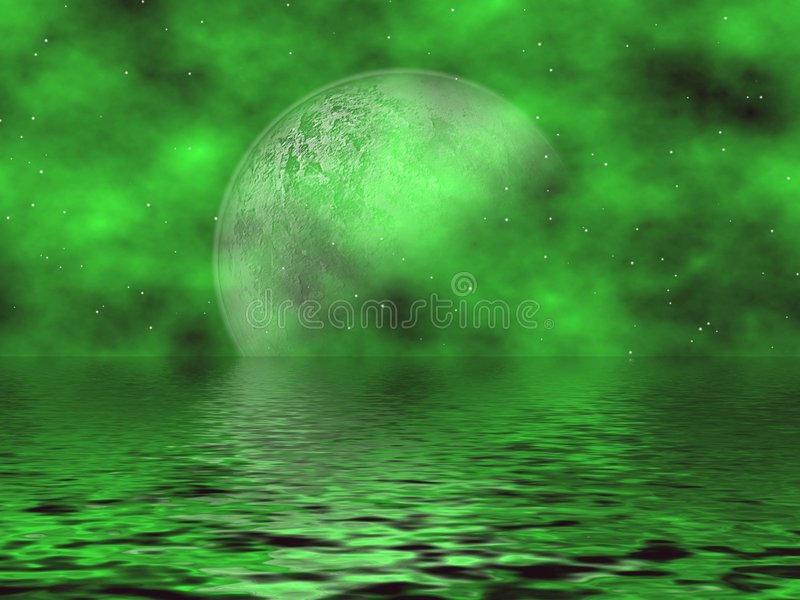 Download Green Moon & Water stock illustration. Image of clouds - 3058179