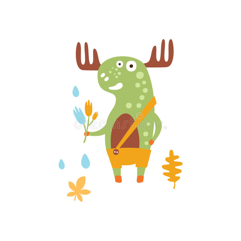 Green Moose Wearing Uellow Pants With Suspender Holding A Fallen Leaf Smiling In Autumn Standing Upright Humanized stock illustration