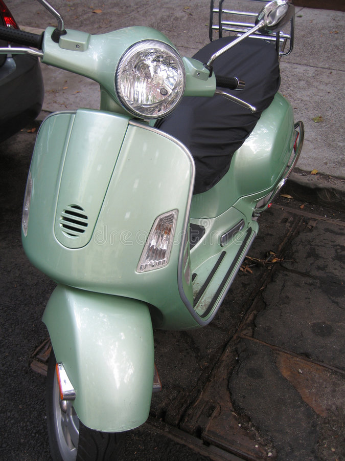 Green moped royalty free stock photos
