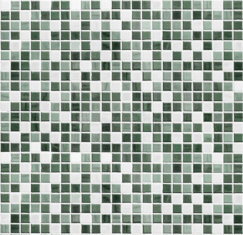 Green mosaic bathroom, kitchen or toilet tile wall background royalty free stock images