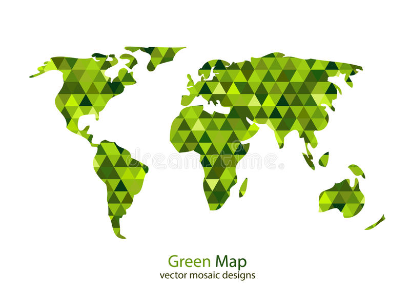 Download Green mosaic world map stock vector. Illustration of america - 38601636