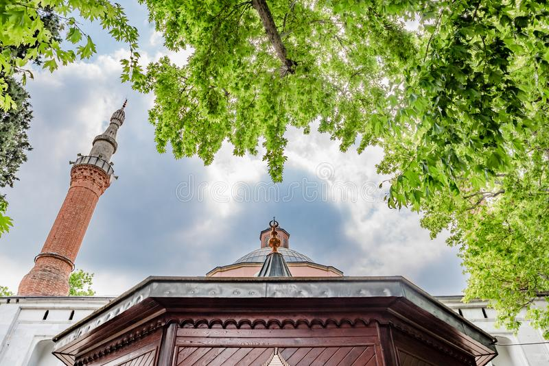 Green Mosque also known as Mosque of Mehmed I in Bursa Turkey. Exterior view of Green Mosque also known as Mosque of Mehmed I is a part of the larger complex in royalty free stock image