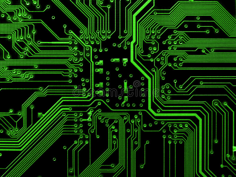 Green motherboard stock photography