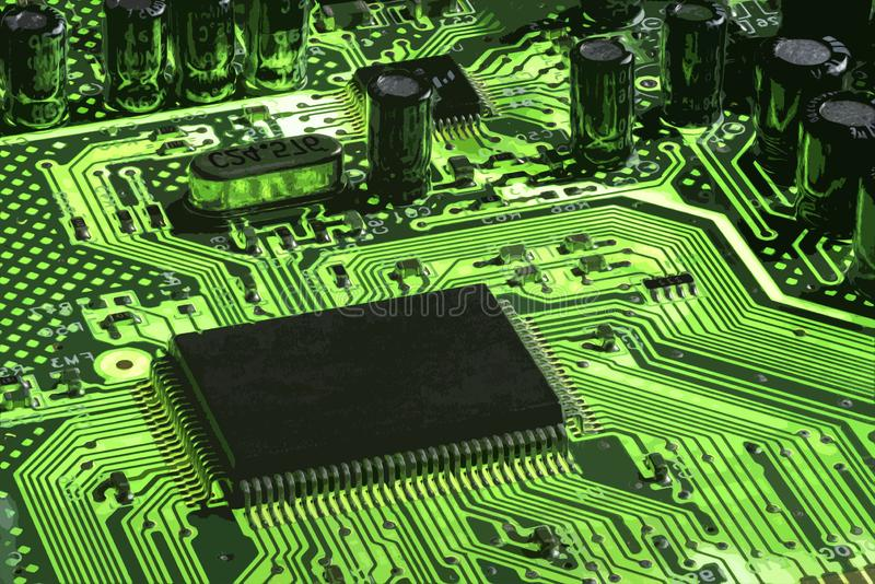 Green motherboard technology, abstract. Green motherboard technology with black microchip and small copy space stock photo