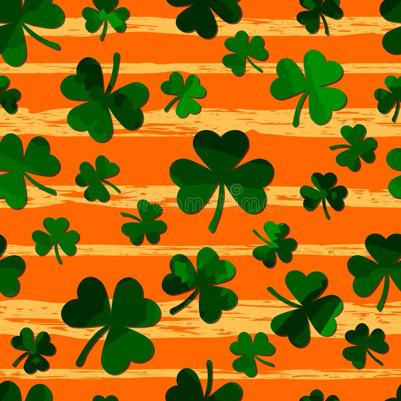 Green motley shamrock on grunge gold stripes. vector seamless pattern. patrick repetitive backgorund. St. Patricks Day vector illustration