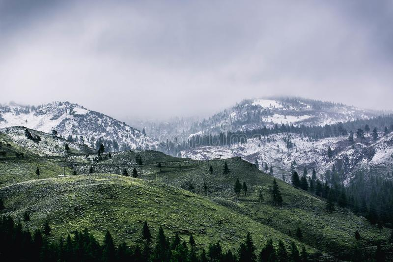 Green Mountain Covered by Snow stock photography