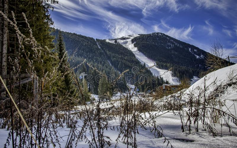 Green Mountain Covered With Snow stock photography