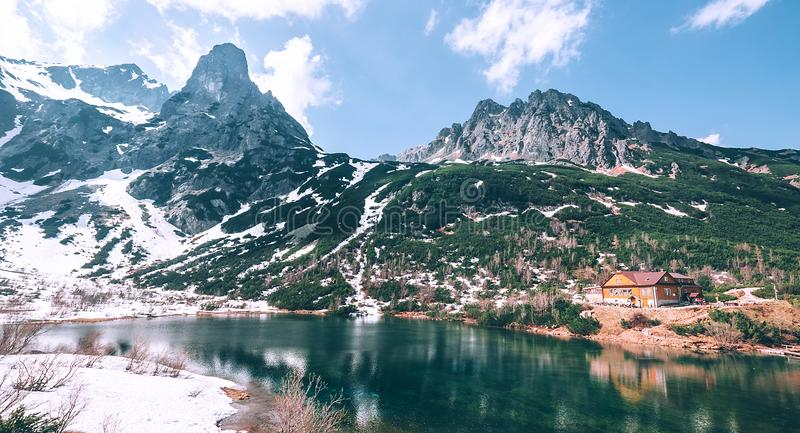 Green mountain lake, Zelene Pleso, High Tatras, Slovakia stock photography