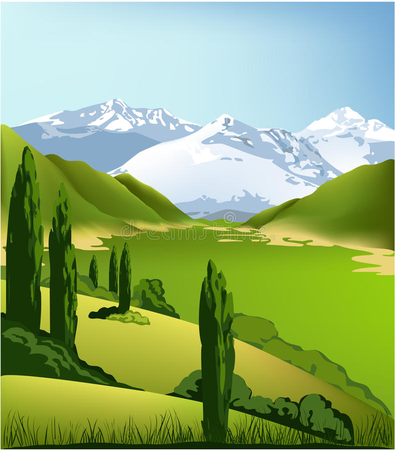 Landscape Illustration Vector Free: Green Mountain Landscape Stock Vector. Illustration Of