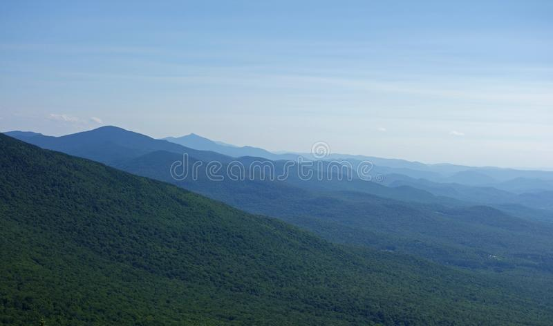 Green Mountain National Forest From Mount Mansfield. A nature image from the summit of Mount Mansfield looking south along the vast expanse of appellation stock photos