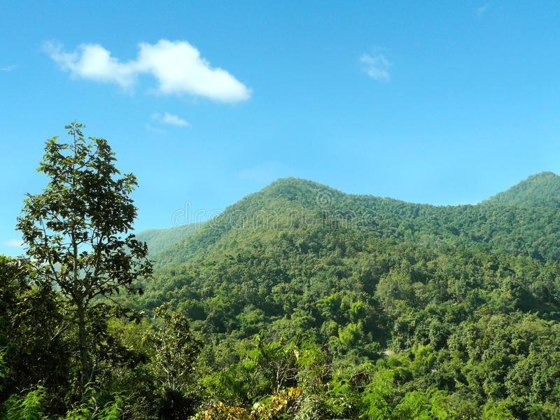 Green mountain range. Beautiful natural, Landscape of green mountain range full of natural green forest and beautiful blue sky in a many clouds and sunlight of royalty free stock images