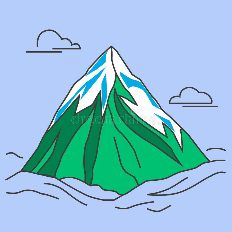 Green mountain with snowy peak and clouds. Mountain with clods. Green mountain with snowy peak. Color outlined illustration. Vector vector illustration