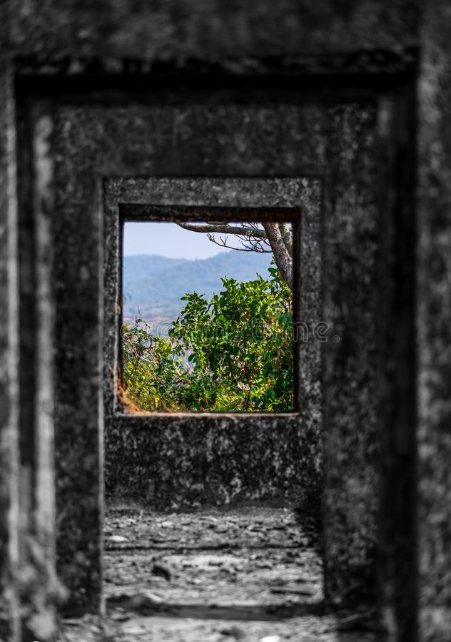 Green mountain view from ruins of fort. Green mountain view from the ruins of cabo de rama fort in south Goa, India stock images