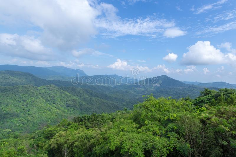 Green mountains and blusky stock photography