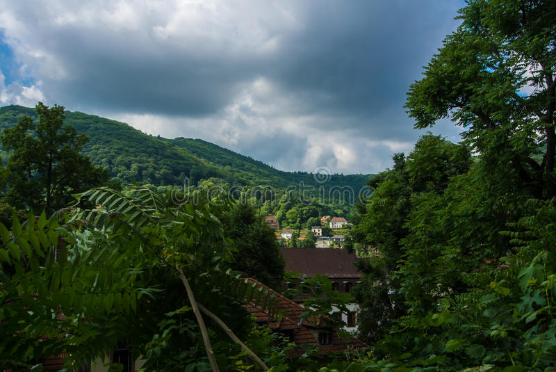 Green mountains covered with a forest and houses, a natural green landscape, Heidelberg stock photos