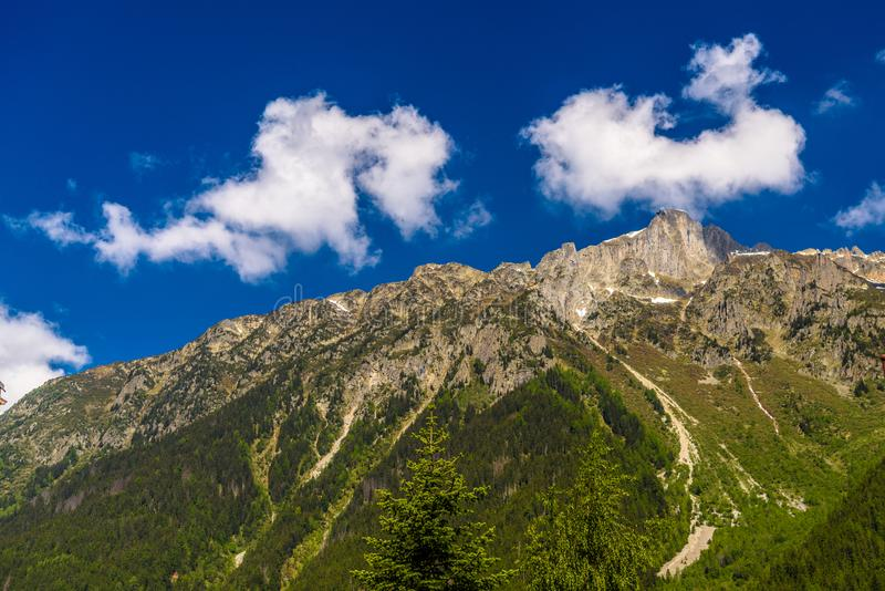 Green mountains covered with grass, Chamonix, Mont Blanc, Haute-Savoie, Alps, France stock photography