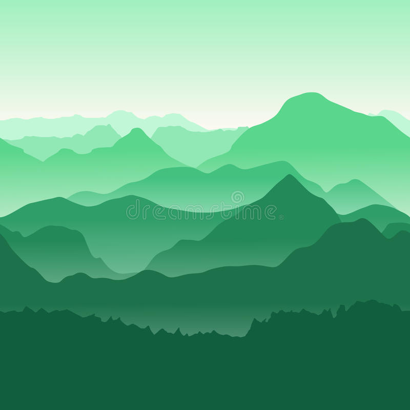 Green mountains in the fog. Seamless background. vector illustration