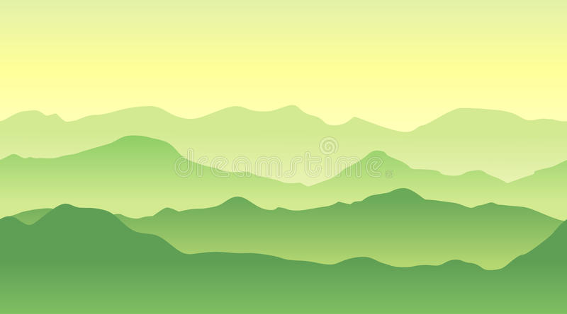 Green mountains landscape in summer. Seamless background. stock illustration